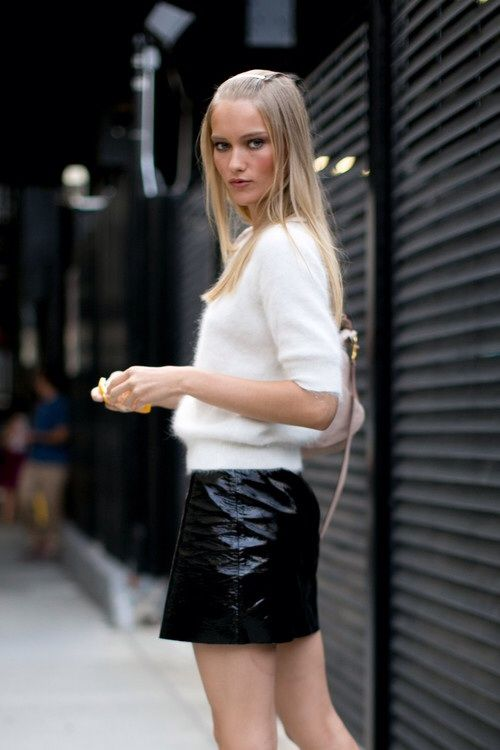 a black leather mini and a white angora sweater for a monochrome textural look suitable for work