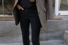 05 a black sweater, black jeans, a tweed jacket and black chelsea boots