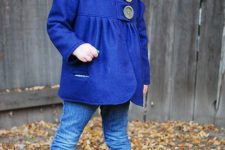 05 a chic modern coat in electric blue with two large buttons to make a statement