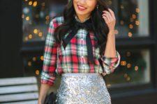 05 a plaid shirt, a silver sequin knee skirt, a black ribbon bow and black clutch
