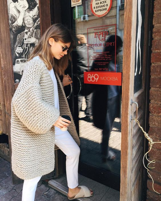 an all-white look with a light grey chunky cardigan to feel comfy