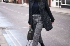 06 a black turtleneck, a long tweed jacket, plaid cropped pants and black sock boots