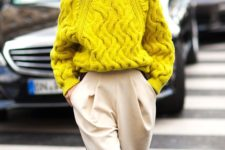 06 a lemon yellow chunky knit sweater and creamy pants with pockets