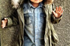 06 an olive green parka with faux fur, denim and a leopard print for a bold look