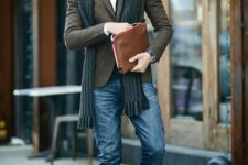 06 blue denim, a tweed jacket, an emerald scarf, brown shoes and plaid bow tie