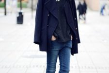 06 blue jeans, a black sweater, a navy cropped coat, black chelsea boots