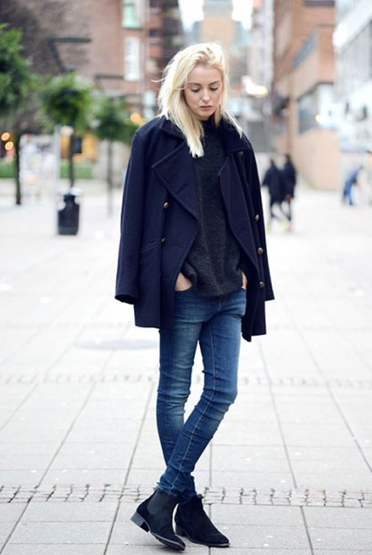 blue jeans, a black sweater, a navy cropped coat, black chelsea boots