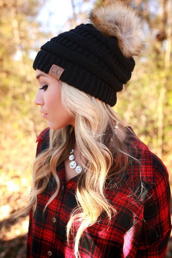 natural waves look very feminine and chic, any beanie will fit