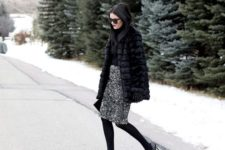 winter look with faux fur coat