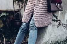 07 a blush chunky cardigan, cropped jeans, amber velvet sock boots