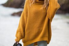 07 a mustard chunky knit sweater, light blue jeans and booties