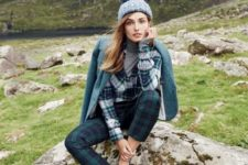 07 a plaid shirt, a grey turtleneck, plaid cropped pants, an emerald jacket, a beanie and blue flats