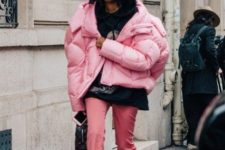 07 add a bubble gum touch to your look with an oversized pink puffer jacket