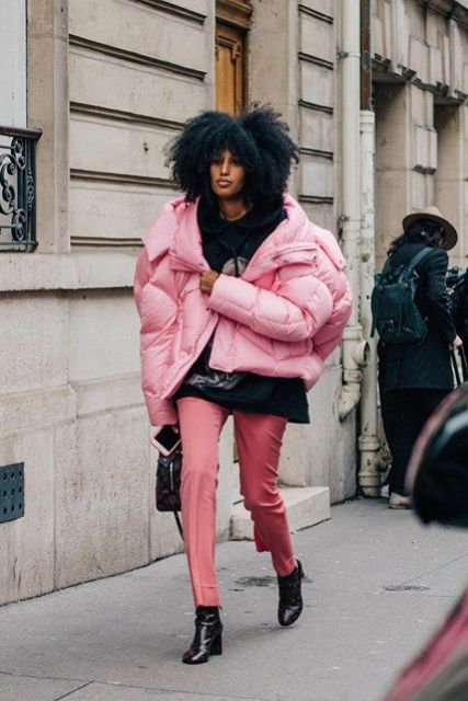 add a bubble gum touch to your look with an oversized pink puffer jacket
