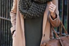 07 an olive green mini dress, a camel coat and a grey chunky knit scarf