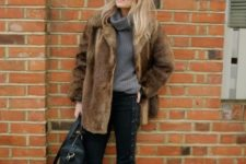 faux fur coat look for a winter