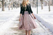 08 a black top, a black embellished jacket, a rose sequin midi skirt and black shoes