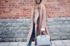08 a blush coat, a white shirt, blue cropped jeans and brown suede boots
