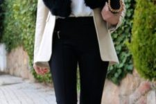 08 a creamy short coat with a black faux fur stole looks very elegant and chic