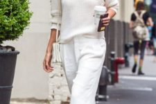 08 a white sweater, white pants, neutral flats and a bag for a casual winter look