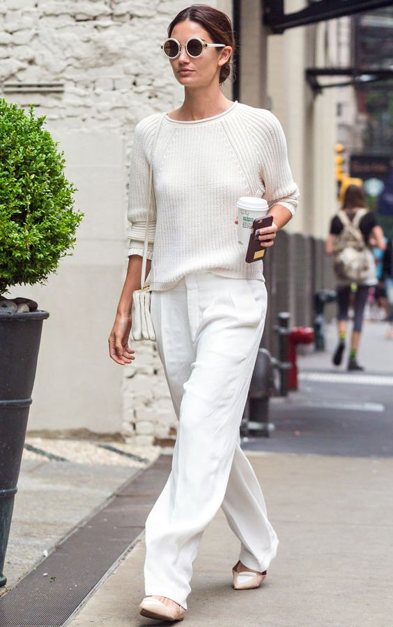 a white sweater, white pants, neutral flats and a bag for a casual winter look