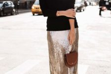 09 a black turtleneck, a champagne sequin midi skirt and black suede boots