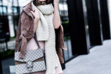 09 a blush dress, a brown suede jacket and a creamy chunky knit scarf