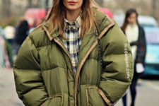 09 an oversized olive green puffer jacket for a chic look
