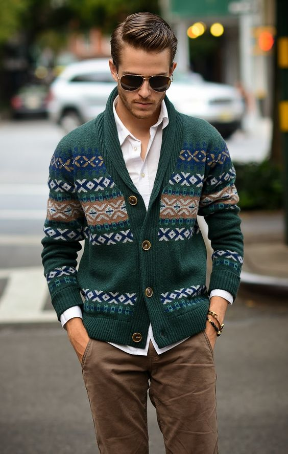 brown pants, a white shirt and a comfy emerald cardigan with winter prints