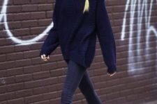 09 dark denim, an oversized navy sweater, a grey beanie and black chelsea boots