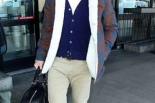 09 neutral pants, a white tee, a navy cardigan, a colorful shearling coat and bold shoes