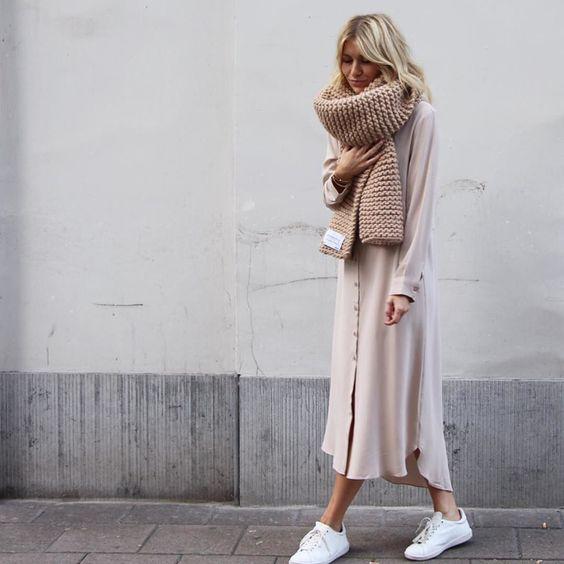 a blush midi shirt dress and a blush chunky knit scarf for a girlish look