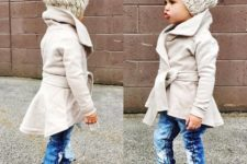 10 a gorgeous modern neutral coat, a matching beanie and distressed denim and boots