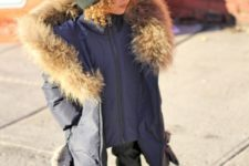 10 a graphite grey parka with faux fur and a printed beanie for a comfy winter look