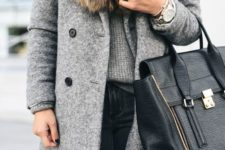 10 a grey coat with a faux fur stole looks chic and is comfy for winter