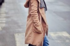 10 a knee camel coat, a grey scarf, blue jeans and cognac chelsea boots