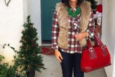 10 a plaid shirt, navy skinnies, a faux fur vest, glitter flats and a red bag
