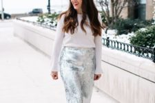 10 a white sweater, a silver sequin pencil skirt and black suede shoes