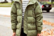 10 an olive green oversized puffer coat looks not so bold