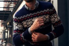 10 distressed denim, a striped shirt, a printed holiday sweater is all you need for the holidays