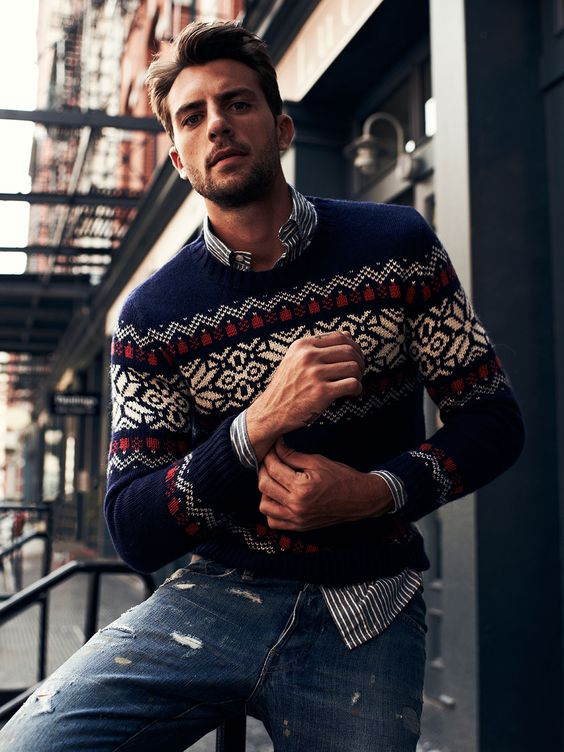 distressed denim, a striped shirt, a printed holiday sweater is all you need for the holidays
