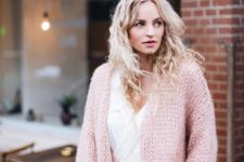 10 grey denim, a white shirt and a pink chunky knit cardigan