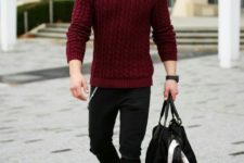 11 a burgundy cable knit sweater is a great idea for holidays, pair it with black denim and boots of your choice