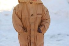11 a mustard parka for a toddler boy, bold red pants