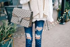 12 a creamy off the shoulder sweater, a scarf of the same shade, ripped denim, nude shoes and a bag