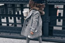 12 a modern grey coat with a star print looks bold and eye-catchy