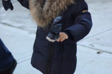12 a navy kid's parka with faux fur is a cool idea to feel warm and look stylish