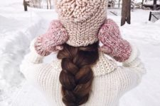 12 an oversized milk braid and a blush beanie for a girlish look