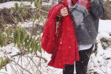12 black leggings, a white shirt, a plaid scarf, red boots