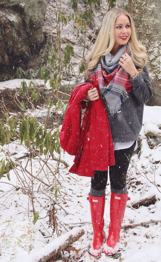 black leggings, a white shirt, a plaid scarf, red boots